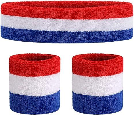 Sports Sweatbands Set Soft Terry Towelling 1 Headband 2 Wristbands Set-UK seller