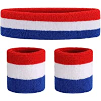 ONUPGO Sweatband Set - Sports Headband Wrist Striped Sweatbands Terry Cloth Wristband Athletic Exercise Basketball Wrist Sweatband and Headbands Moisture Wicking Sweat Absorbing Head Band