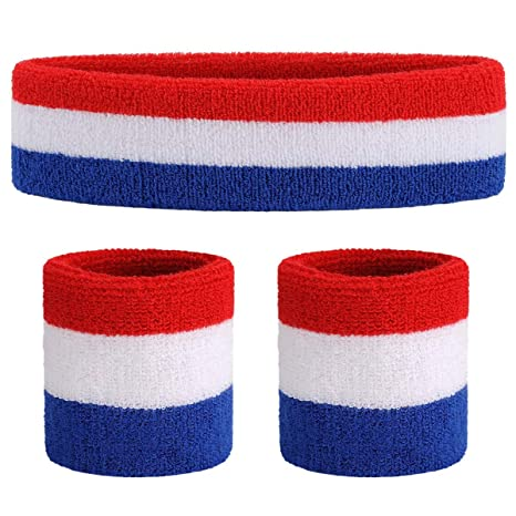 6 BLUE TERRY SWEATBAND Cotton Headbands Absorbent Workout Quality Sport BANDS