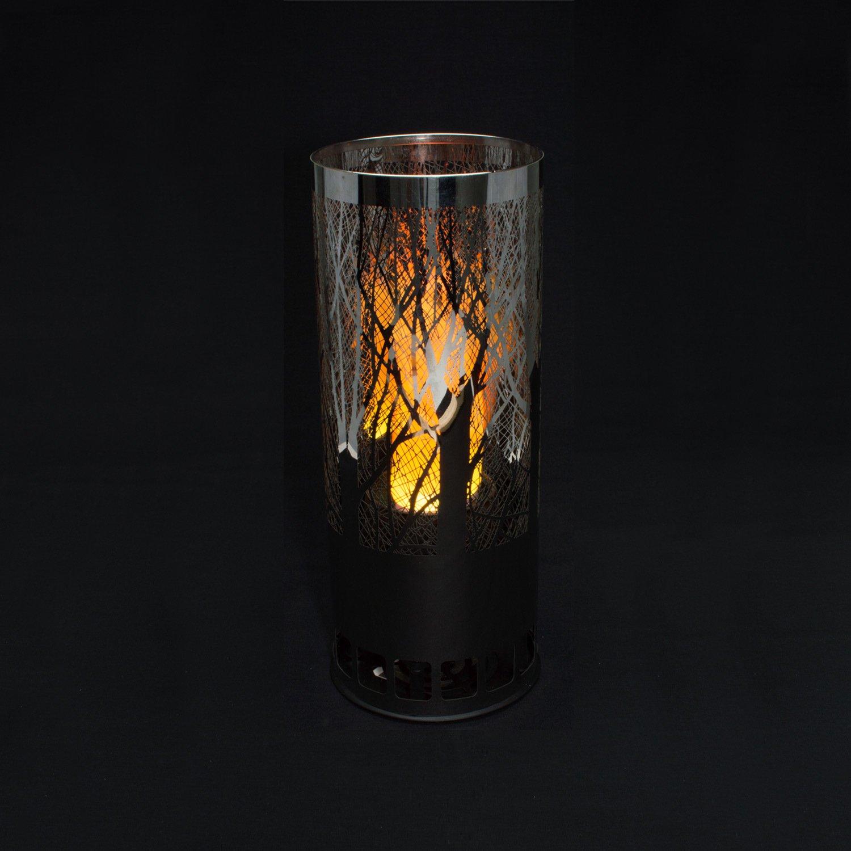 Apando Halogenlampe Halogenlampe Halogenlampe Deko Flammenleuchte Edelstahl – Waldmotiv rund da5e76