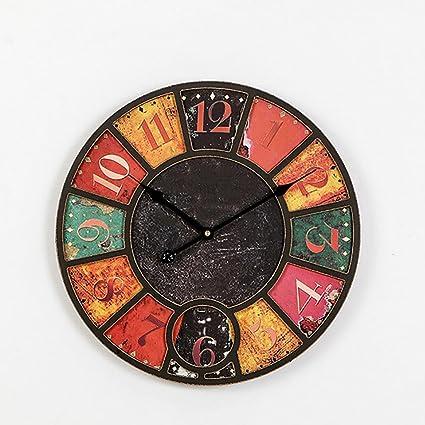 ZHANG 40cm El nuevo estilo americano Hacer viejo reloj de pared Sala Retro reloj de pared