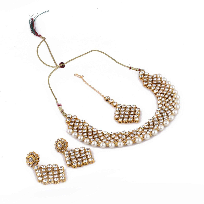Aradhya Designer Kundan Necklace Set with Earrings for Women