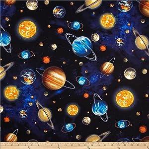 Robert Kaufman Stargazers Planets Royal Fabric By The Yard
