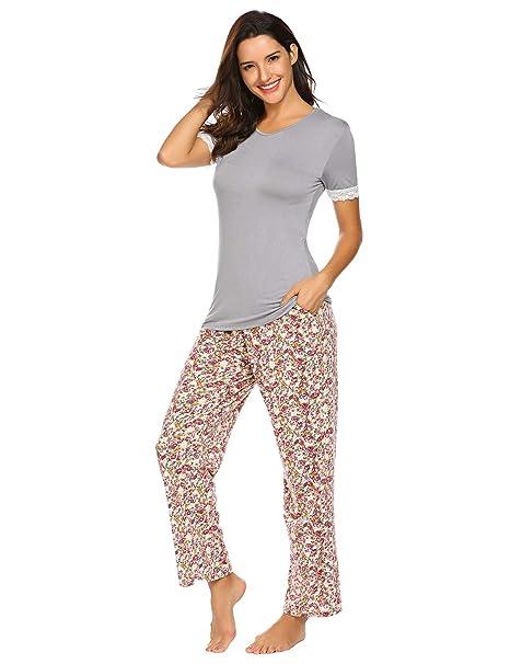 separation shoes 74251 4702e Pyjamahosen Schlafanzug Damen Zweiteiliger Schwangere Schlafanzug Sommer  Nachtwäsche Set Kurz Oberteile Lange Hosen