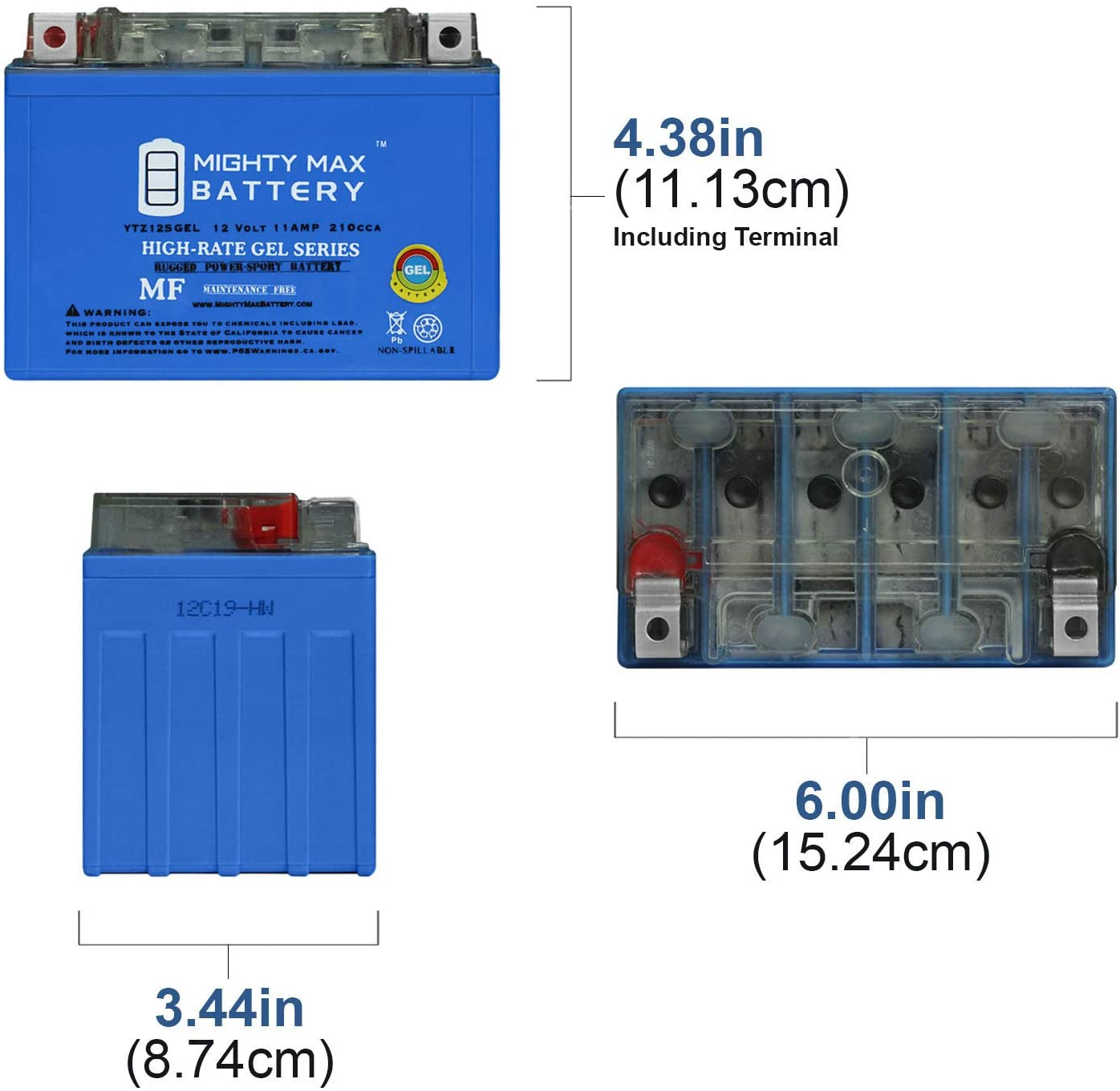 Mighty Max YTZ12S 12V 11AH Battery for Honda 700 NC700X /'12-14 12V 2Amp Charge
