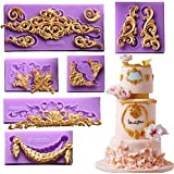 ( 6 in Set)Baroque Style Curlicues Scroll Lace Fondant Silicone Mold for Sugarcraft, Cake Border Decoration, Cupcake…