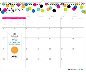 "Ampersand for Blue Sky 2020-2021 Academic Year Monthly Wall Calendar, Twin-Wire Binding, 15"" x 12"", Dots, White (107947-A21)"
