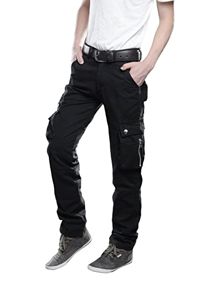 best price united states competitive price TAIPOVE Men Cargo Pants Black Zipper Pockets Slim Fit ...