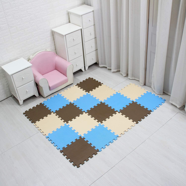 MQIAOHAM Children Puzzle mat Play mat Squares Play mat Tiles Baby mats for Floor Puzzle mat Soft Play mats Girl playmat Carpet Interlocking Foam Floor mats for Baby Coffee Blue Beige 106107110