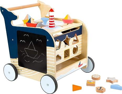 Laufwagen aus Holz 5 bespielbare Seiten Lauflernwagen Wal erste Gehversuche
