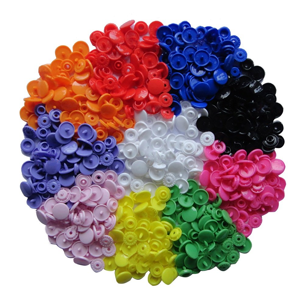 150 Complete Sets KAM Snap Kits Plastic Resin Snap Fastener Buttons KAM T5 Size 20 (1/2) Assorted Rainbow Colors Williant WDB020-150Pcs