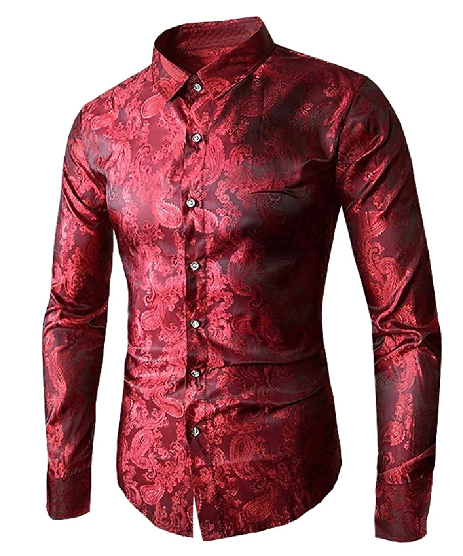 Losait Mens Rockabilly Original Fit Charmeuse Prodenia Long Shirt