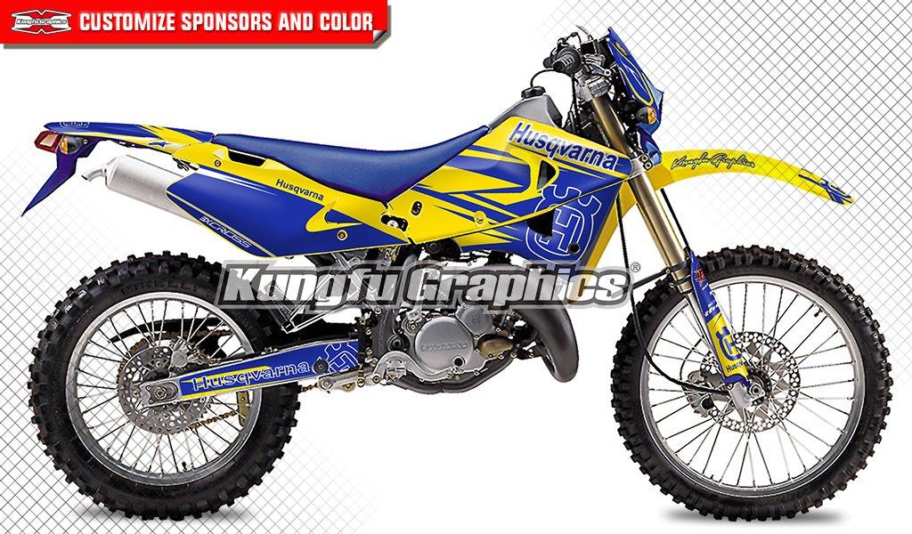 Kungfu Graphicsカスタムデカールキットfor 2000 2001 2002 2003 2004 HUSQVARNA WR CR 125 250 450、ブルーイエロー   B079GBQ9FD