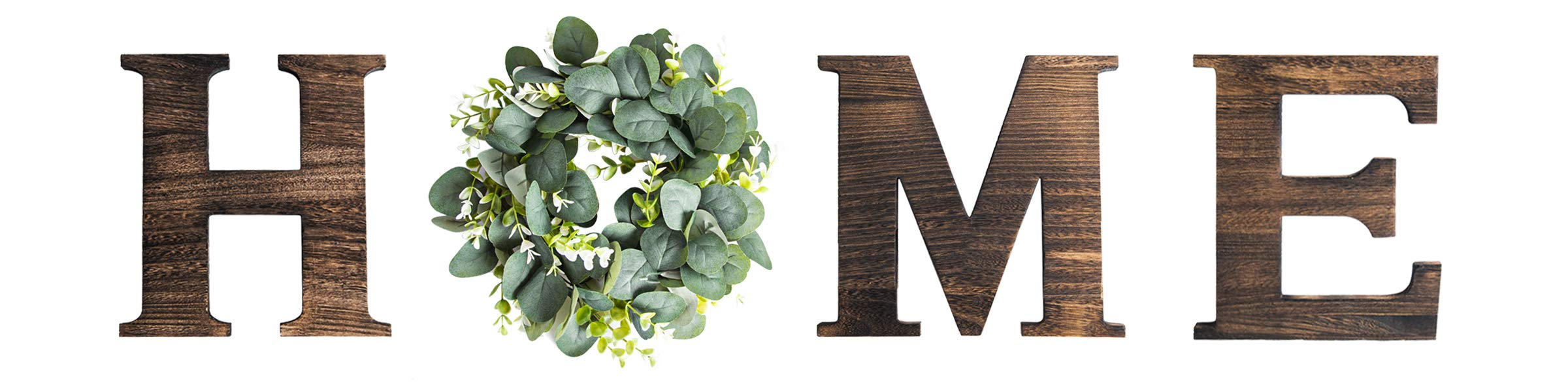 Rustic Wall Hanging Wood Home Sign Decor,O Shaped Artificial Eucalyptus Wreath Decoration, Decorative Wooden Letters H, M, E for Living Room 9.8''H x 10.4''W