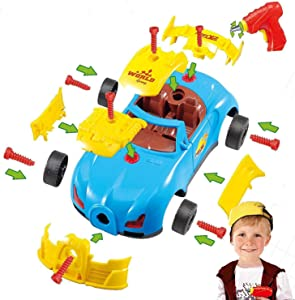 Take Apart Toy Racing Car Kit For Kids W Electric Toy Drill, Lights and Sounds - Build Your Own Car Toy For Boys & Girls age 3, 4, 5, 6 yrs - 12 years old Best Gift For Kids
