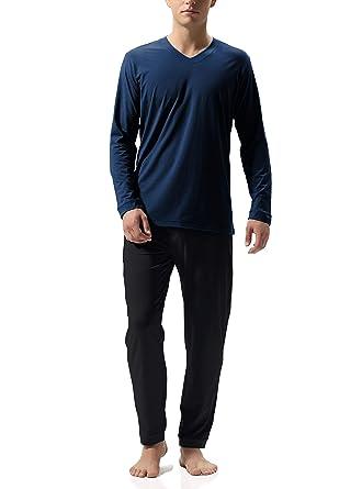 1255bfe03f7adc Genuwin Herren Zweiteiliger Schlafanzug Lange Pyjama Set aus Baumwolle,  Klassische Nachtwäsche für Männer - Langarm Shirt mit V-Ausschnitt & Lange  ...