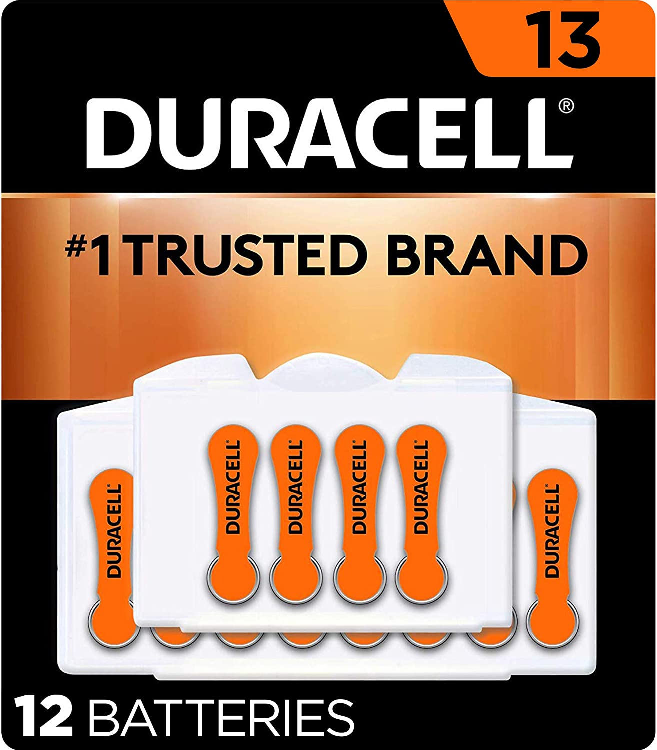 Duracell - Hearing Aid Batteries Size 13 (Orange) - long lasting battery with EasyTab for ease of installation - 12 count