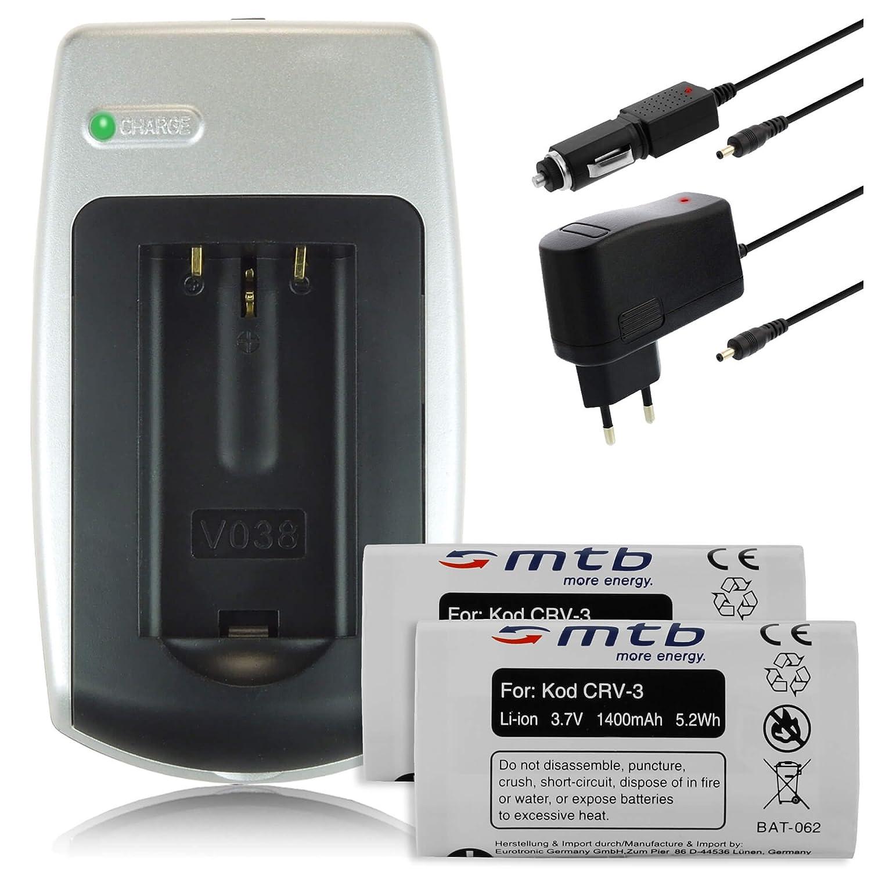 2 x Batterie + Caricabatteria per Kodak CR-V3, CRV-3, CRV3, RV3 –  vedere elenco di fantasie RV3-vedere elenco di fantasie mtb more energy 2SET-039