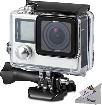 Deyard 45M Underwater Waterproof Housing Case with Quick Release Mount and Thumbscrew for GoPro Hero 4 and Hero 3+ Action Camcorder - 45 Meters Underwater Photography