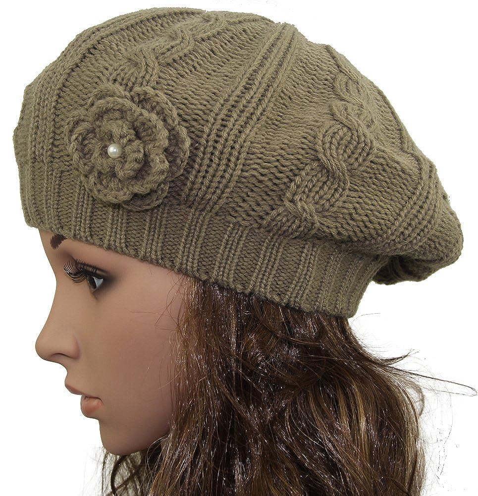 minakolife Women Crochet Braided Knit Flower Beret Baggy Beanie Ski Cap Hat CAP-7158
