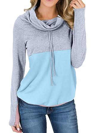 42a75338c0 Asvivid Womens Cowl Neck Long Sleeve Color Block Tunic Tops Light Weight  Drawstring Loose Pullover Sweatshirt