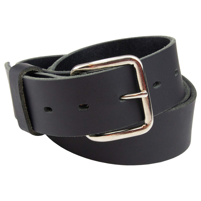 Journeyman Leather Belt | Made in USA | Black w/Silver Buckle | Size 36