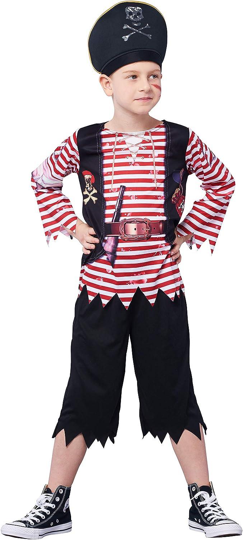 IKALI Disfraz de Pirata para niño, Bucanero Equipo con el capitán Hat (Set de 5 Piezas)