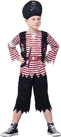IKALI Disfraz de Pirata para niño, Bucanero Equipo con el capitán Hat (Set de 5 Piezas): Amazon.es: Ropa y accesorios
