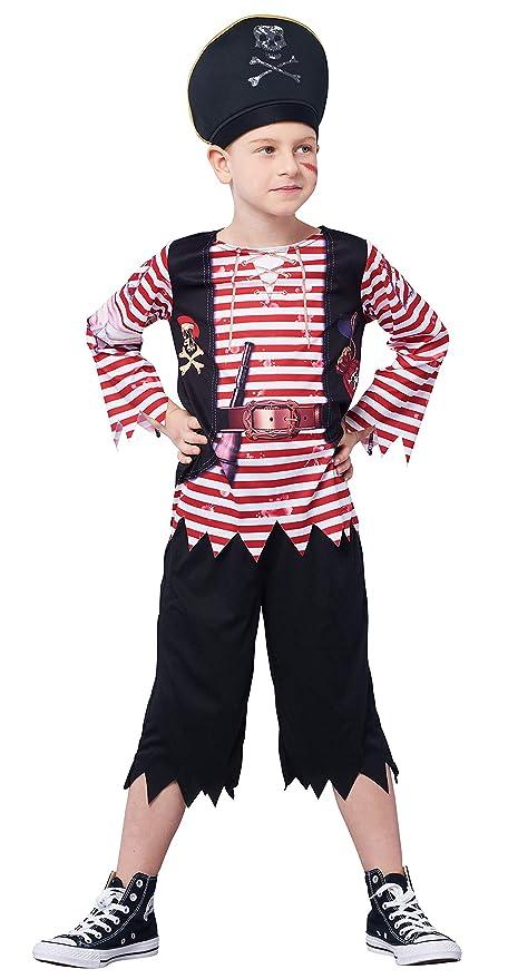 IKALI Disfraz Pirata niños, Chicos Calaña de Caribe Rayas Fancy Dress, Capitán Jack Pretender Vestuario