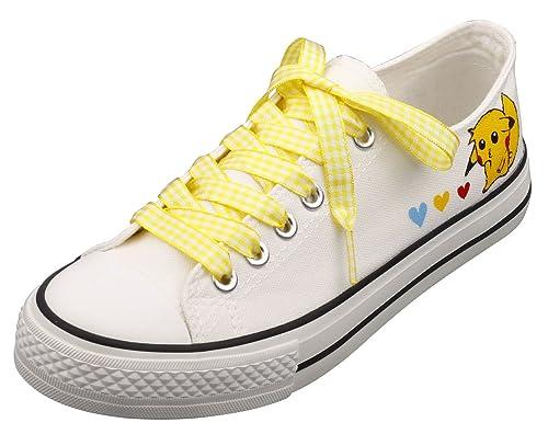 544da00dae17e Amazon.com | E-LOV Cartoon Pikachu Hand-Painted White Canvas Shoes ...