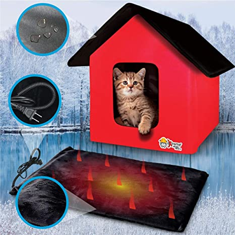 Extreme Consumer Products New 2020 Indoor Outdoor Red Cat House With Heated Cat Bed 2 Doors No Slip Feet And Stake Ties For Secure Placement Pet Supplies