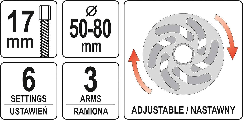 50-80mm YT-06341 Kohlenstoff-Stahl Yato Profi Universal Nockenwellen- und Riemenscheiben-Abzieher Satz 3 Arme Nockenwellenrad Abzieher Nockenwelle Riemenscheibe