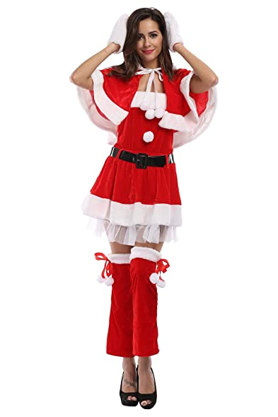 YINGER Womenu0027s Mrs Santa Costume Dresss Hooded Sexy Christmas outfit Costume Set Red  sc 1 st  Amazon.com & Amazon.com: YINGER Womenu0027s Mrs Santa Costume Dresss Hooded Sexy ...