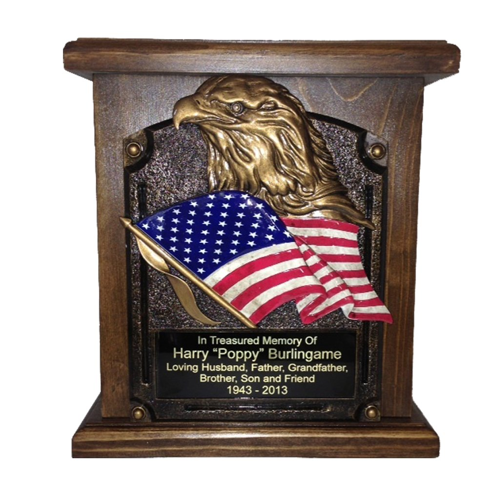 American Flag and Eagle Cremation Urn, Wood Funeral Urns w/Engraving