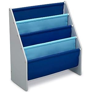 Delta Children Sling Book Rack Bookshelf for Kids, Grey/Blue
