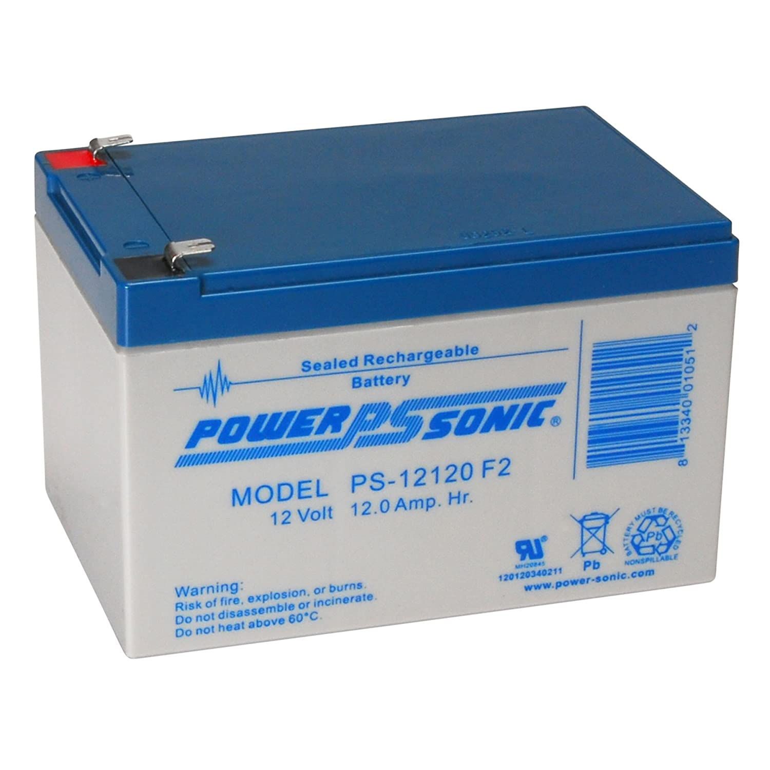 Powersonic PS-12120F2 - 12 Volt/12 Amp Hour Sealed Lead Acid Battery with F2 Terminals