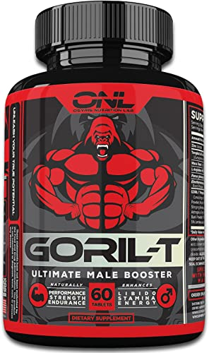 GORIL-T Men s Test Booster 60 Tablets Boost Energy, Strength, Metabolism, Increase T-Levels – Promotes Healthy Weight Loss – All Natural Male Performance Supplement