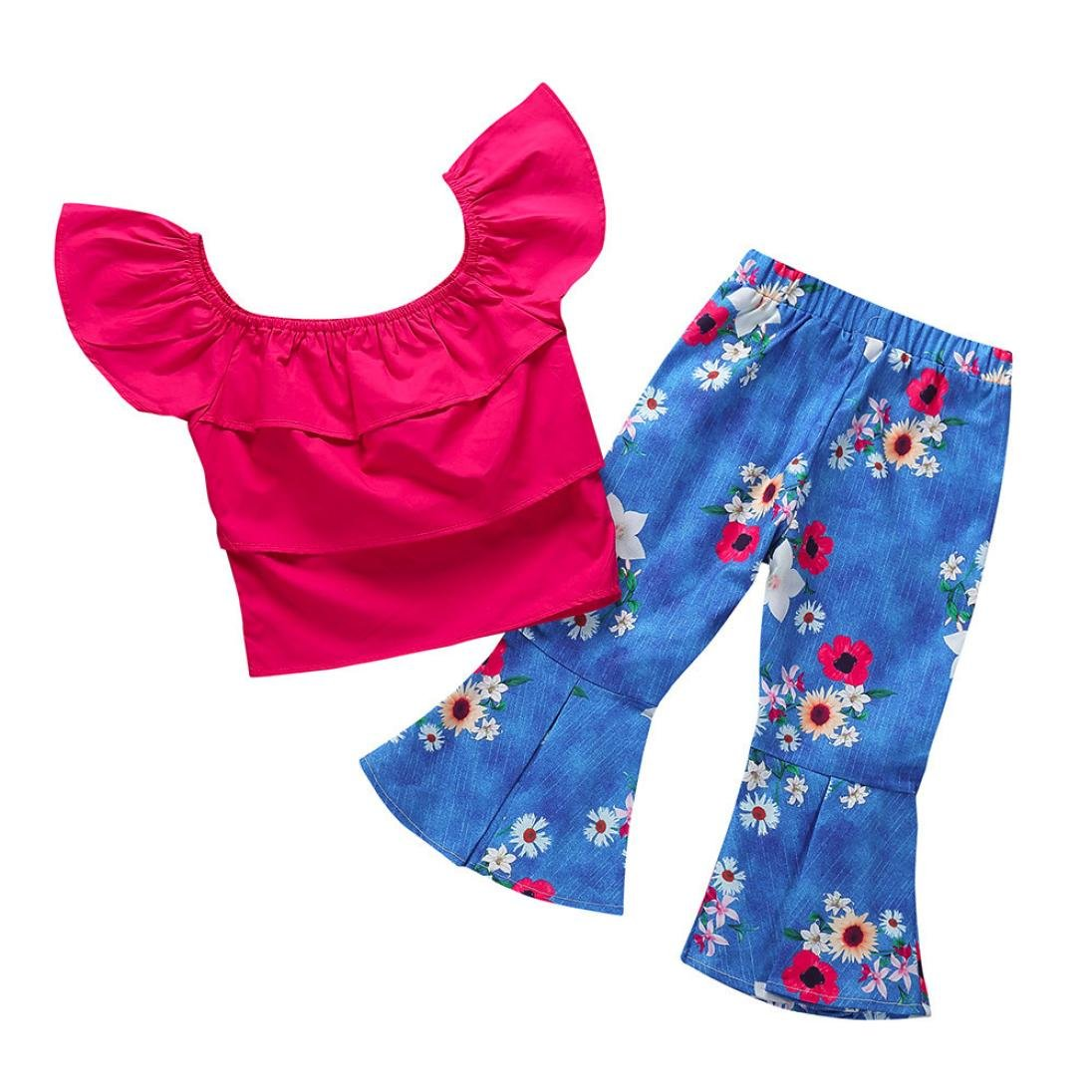 Toddler Baby Girls Kids Summer Clothes Outfits Mingfa Off Shoulder Tops+Denim Floral Flare Pants Set for 1-4 Years Old