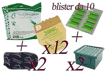 Aktivkohlefilter Hepafilter 131 passend 12 Vlies Beutel Vorwerk Kobold 130