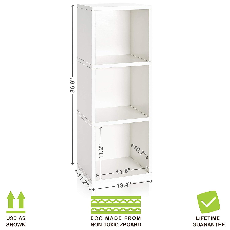 Black Way Basics Wynwood 3-Cube Bookcase Organizer and Storage Unit