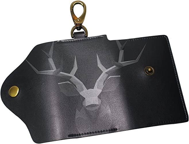 DEYYA Retro Deer Head Leather Key Case Wallets Unisex Keychain Key Holder with 6 Hooks Snap Closure