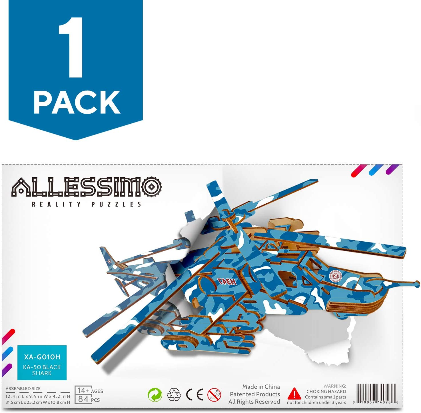 Allessimo Artisolve - 3D Wooden Puzzle Black Shark Assembly Puzzle Kit for Boys Girls Kids Adults Family, Fun and Creative Jigsaw Puzzle, for Ages 14+