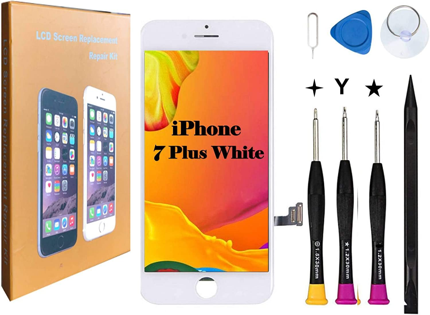 Compatible with iPhone 7 Plus Screen Replacement COASD LCD Digitizer Touch Screen Assembly Set with 3D Touch Model No.A1661 A1784 A1785 (White)