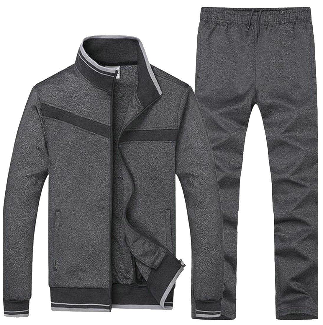 Dark Grey Papijam Mens 2 Piece Sports Sweatpants Jackets Sweatpants Tracksuits