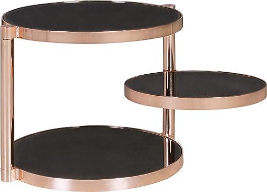 WOHNLING - Mesa Auxiliar de Metal y Cristal, 45 cm de diámetro ...