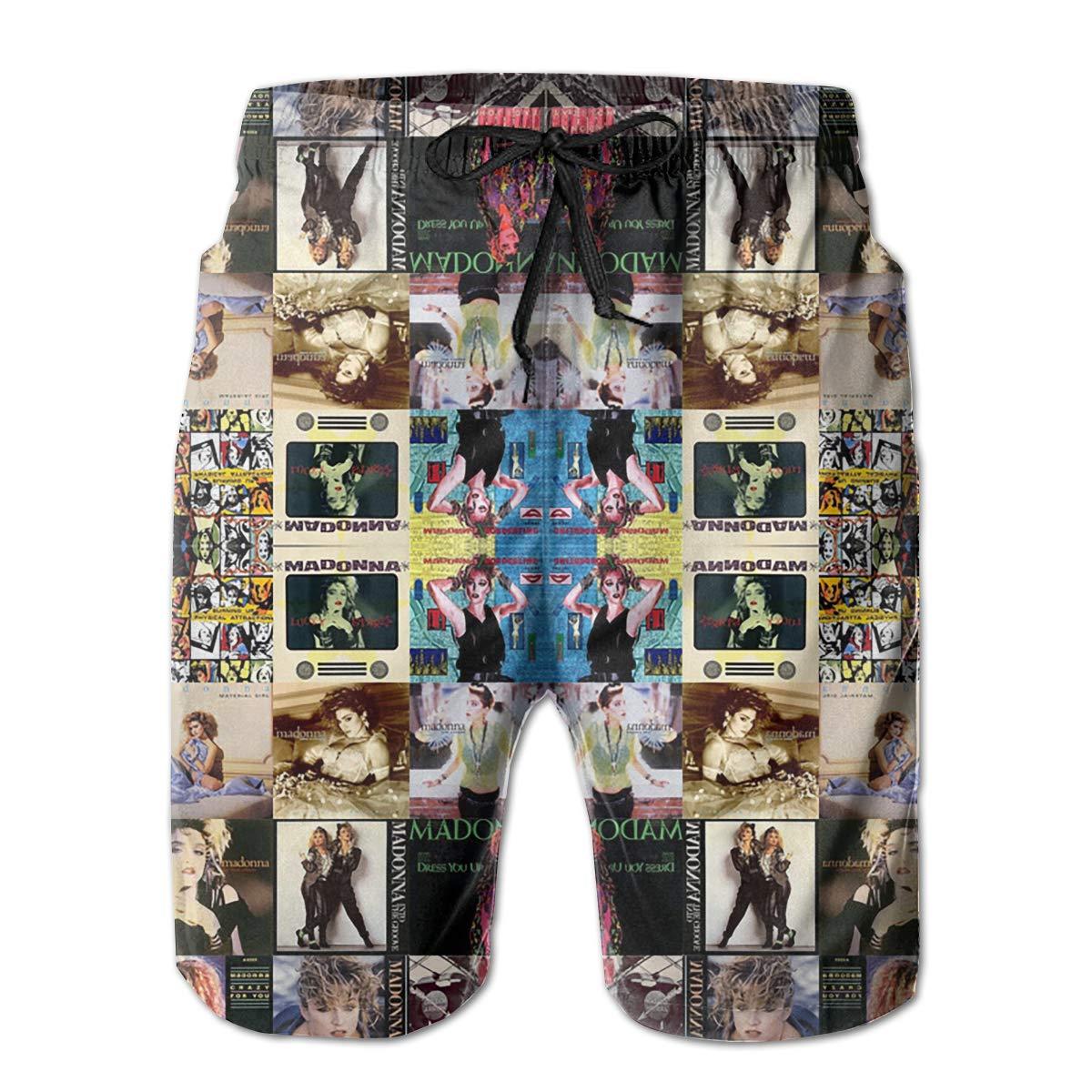 Angkella Madonna Collage Mens Beach Shorts,Loose Summer Swim Trunks Surfing Home Shorts