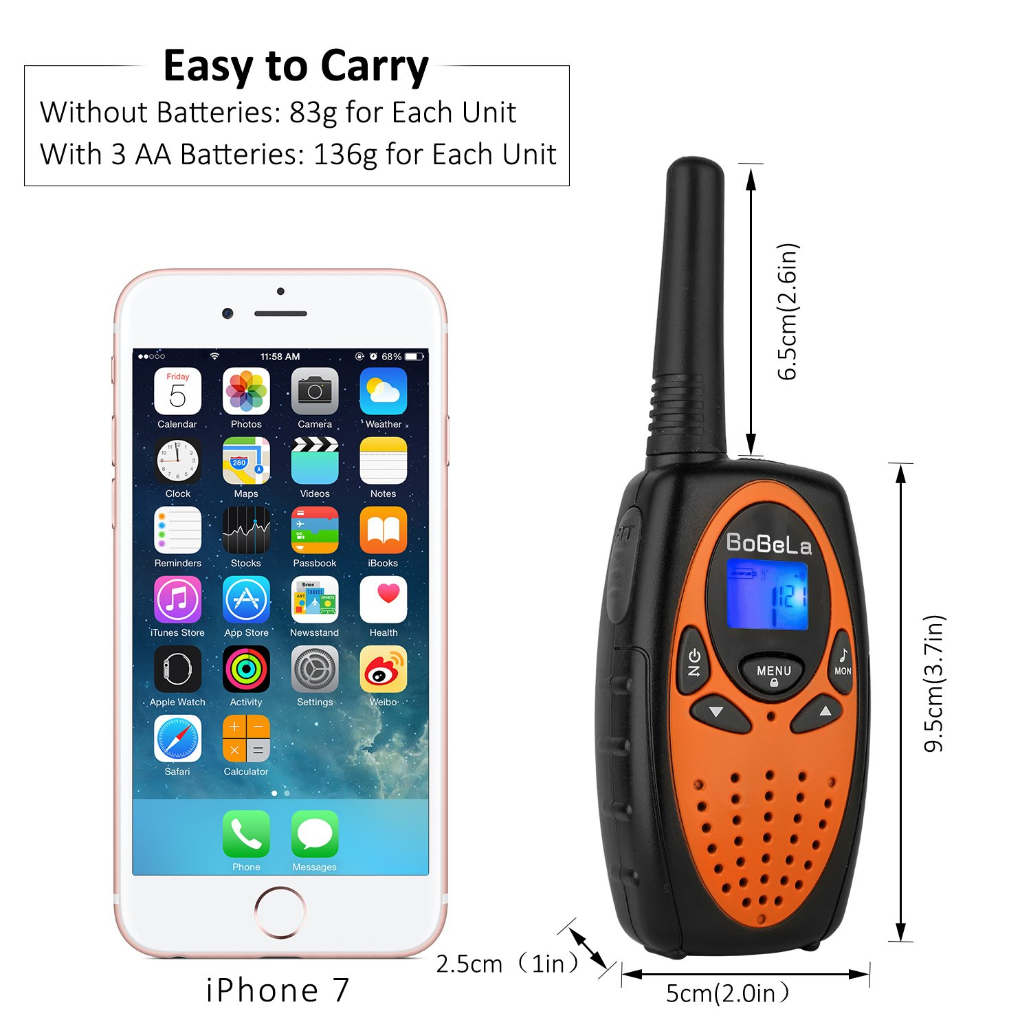 Bobela Camping and Cruise Ship Accessories, Handheld Walky Talky with Belt Clip for Adults,Easy to Use Walkie Talkies for Family Travel Trip(M880 Orange,2 Pack) by Bobela (Image #4)