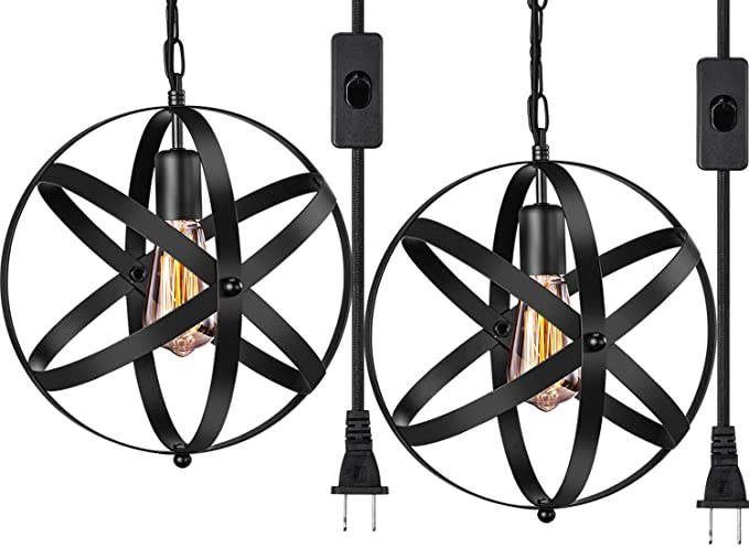 Industrial Plug In Pendant Light E26 E27 Industrial Hanging Light Metal Globe Vintage Pendant Light Fixture With 14 8ft Hanging Cord And On Off Switch