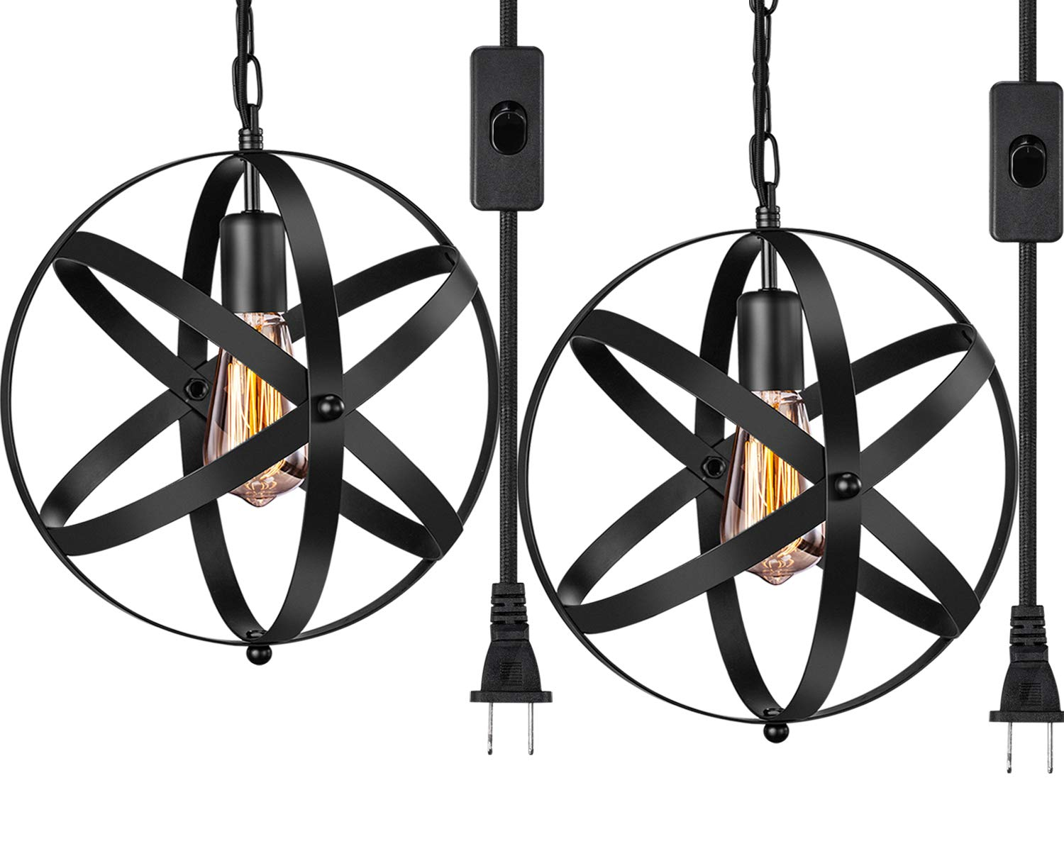 Industrial Plug in Pendant Light INNOCCY E26 E27 Industrial Hanging Light Metal Globe Vintage Pendant Light Fixture with 14.8Ft Hanging Cord and ON/OFF Switch 2 Pack by INNOCCY (Image #1)