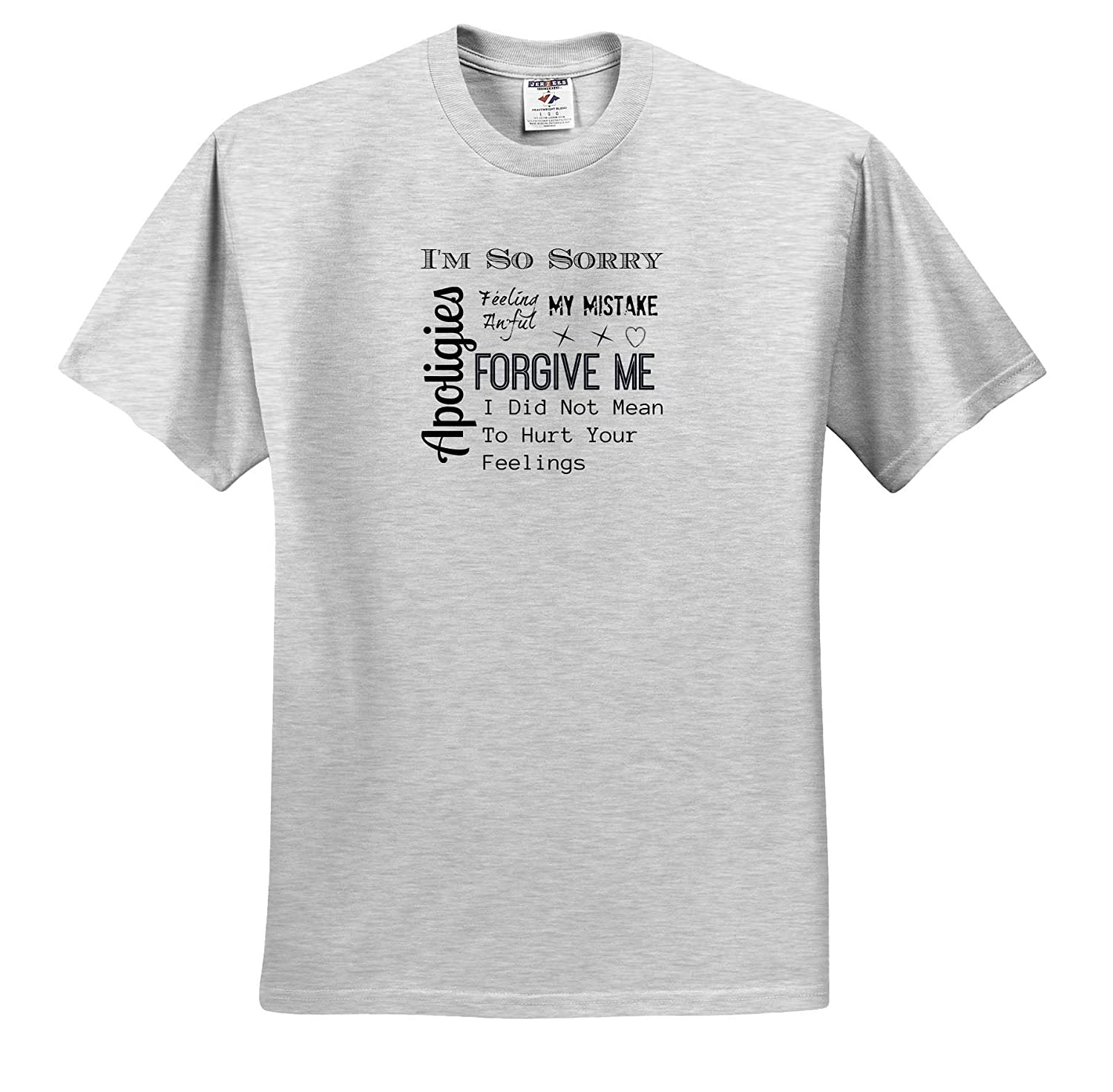 3dRose Carrie Merchant Image of Apologies Forgive Me Im Sorry I Hurt Your Feelings ts/_309859 Adult T-Shirt XL